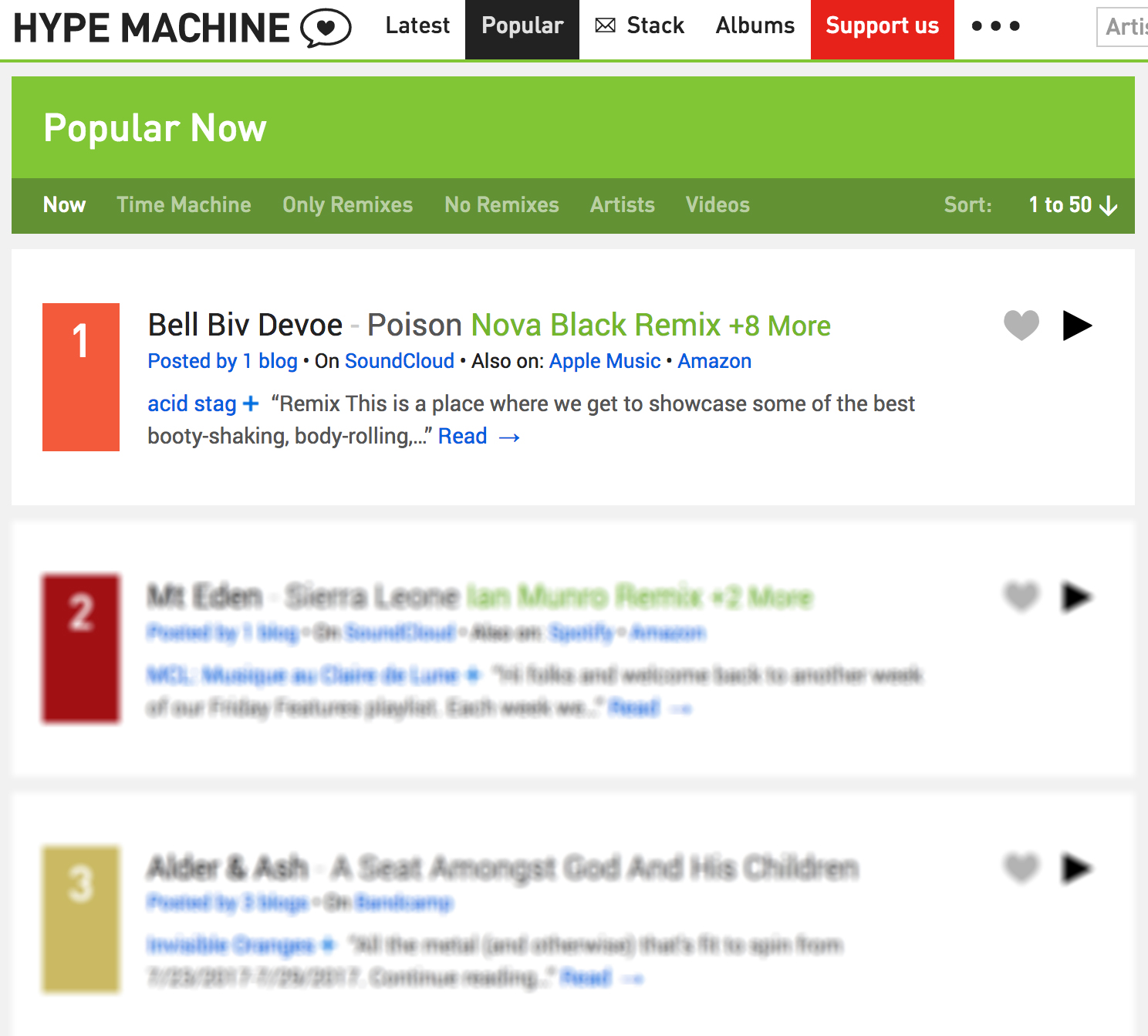Poison Remix: #1 on Hype Machine Most Popular Charts!